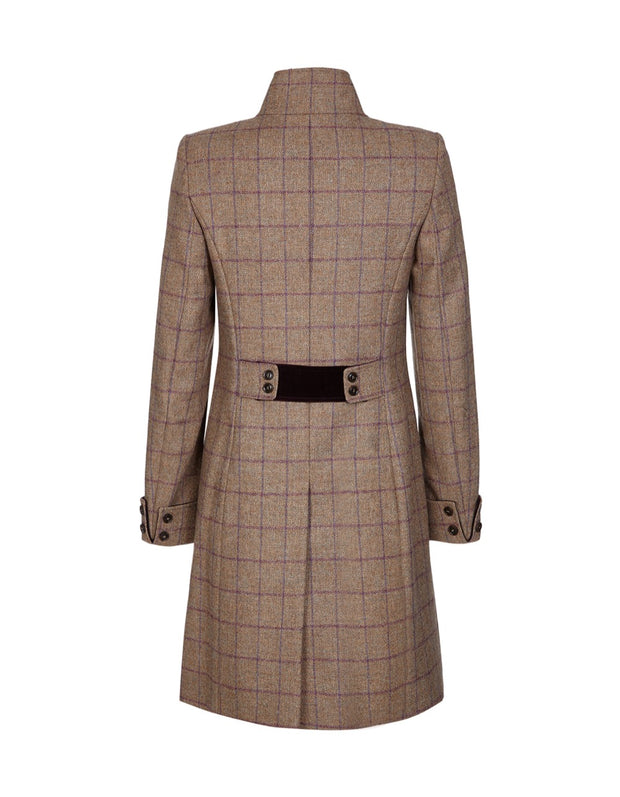 Tweed coat for women in purple and beige wool check with elegant, fitted cut