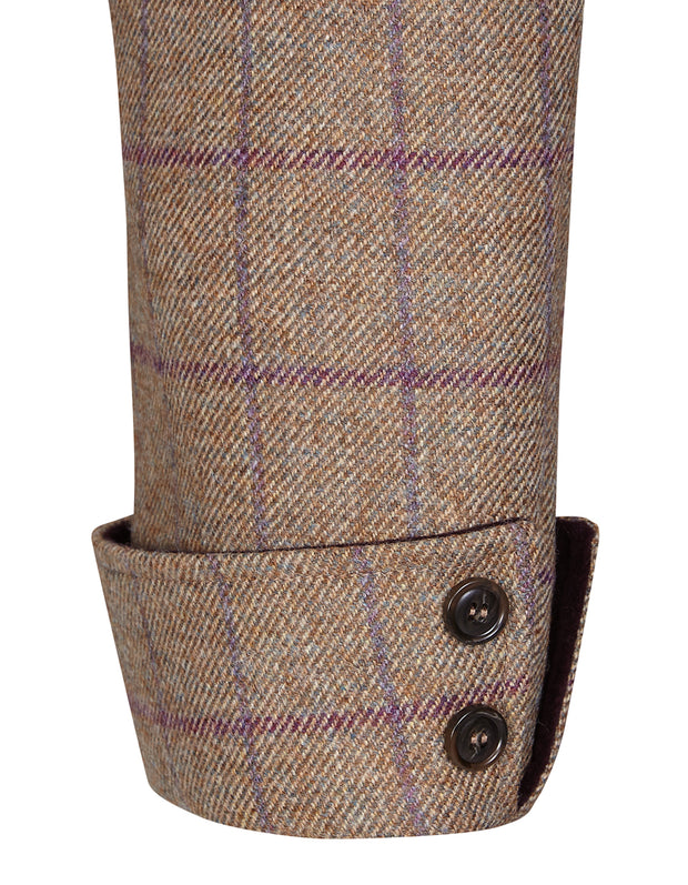 Light brown wool tweed with purple check on Burghley womens tweed coat sleeve