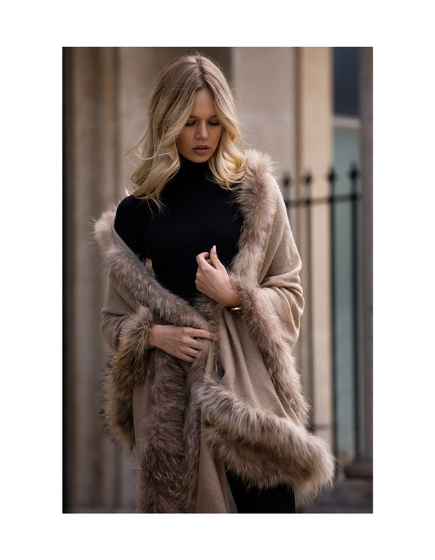 Ladies fur trimmed shawl with camel colored pashmina scarf in cashmere wool blend