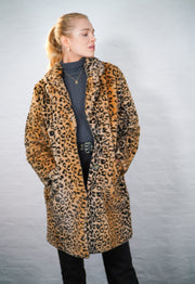 Leopard Print Faux Fur Coat - 50% OFF