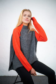 Georgia - Alpaca Jumper - Grey and Orange