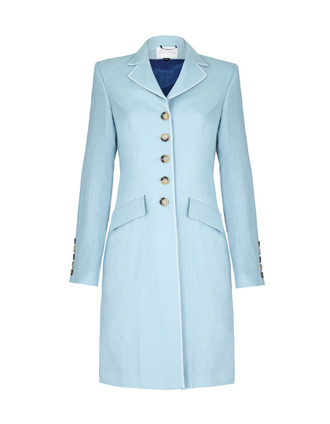ladies linen jackets, dress coat, duck egg blue coat, womens linen jacket, blue linen jacket