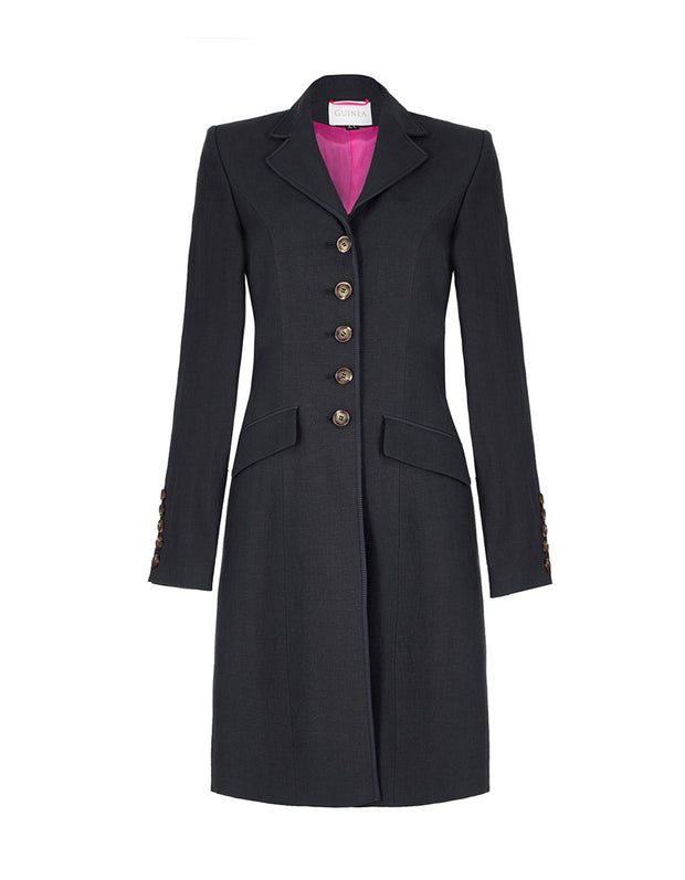 ladies navy linen coat, longer length linen jacket