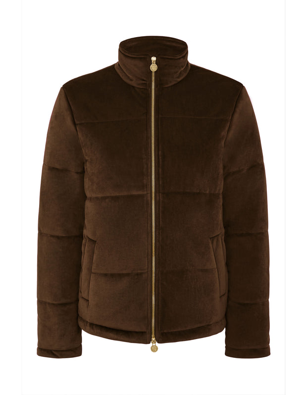 Ella Brown Velvet Padded Jacket