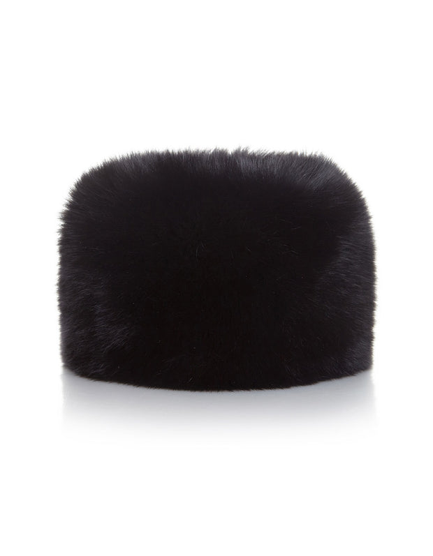 Women's fur hat in Russian Cossack style, made from luxury black real fur