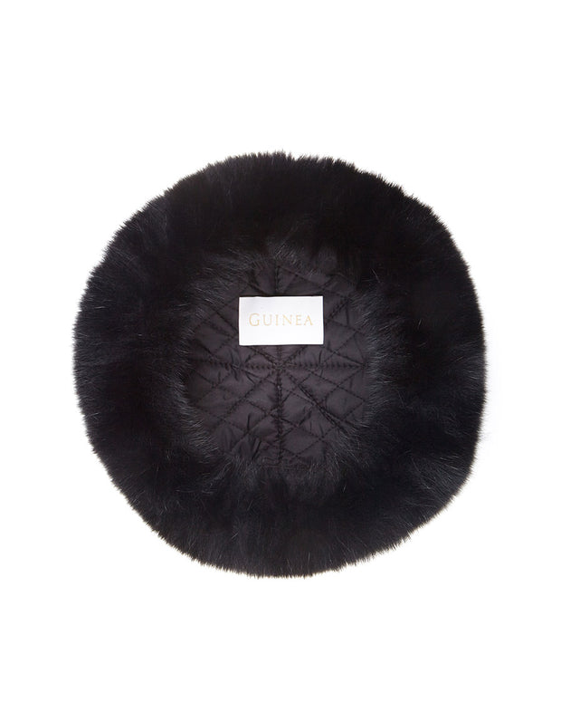 Ladies black fur hat lining detail, made in a Russian style in luxury real fur