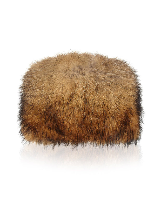 Russian fur hat for women, in brown fox fur with Cossack style shape