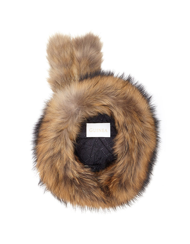 Russian fur hat in light brown fox fur with quilted lining