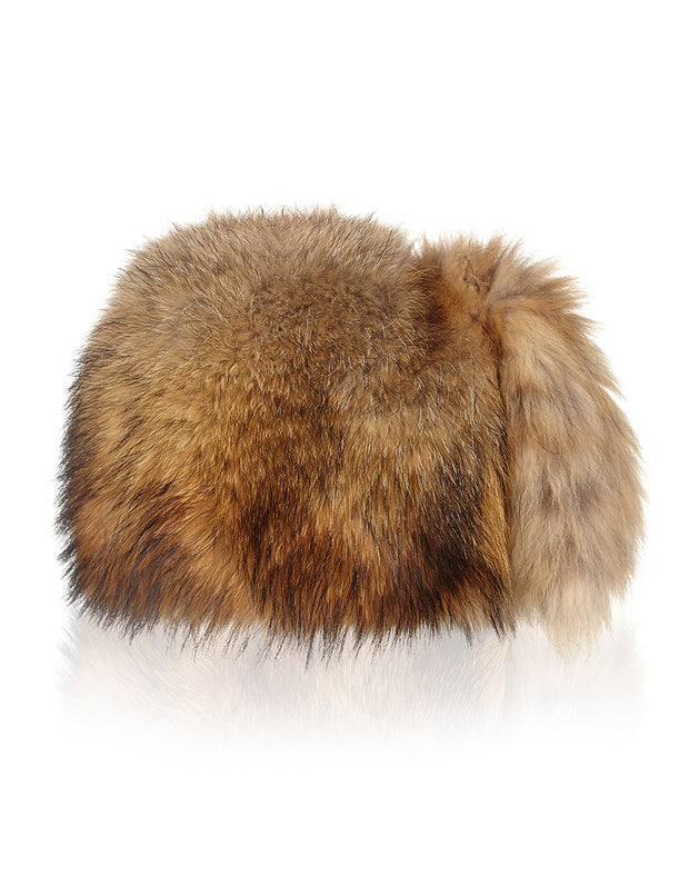 Womens Russian style fur hat in light brown fox fur with tassels