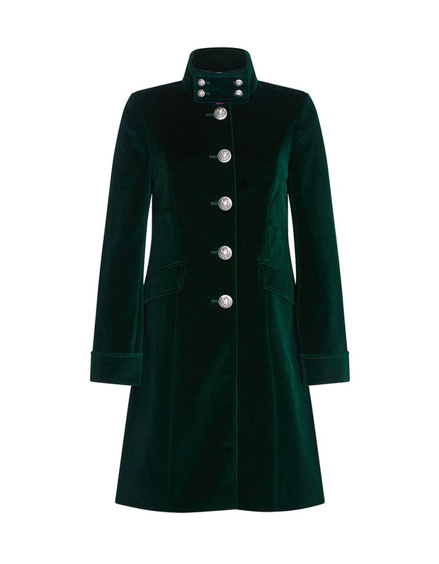 Womens green velvet jacket with high collar and military buttons