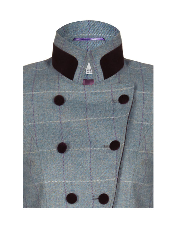 tweed jacket, velvet button jacket coat, womens coat, designer coat womens, blue velvet, occasion coat