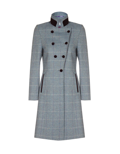 women's tweed coat blue, women's full length coat, blue tweed, long length coat