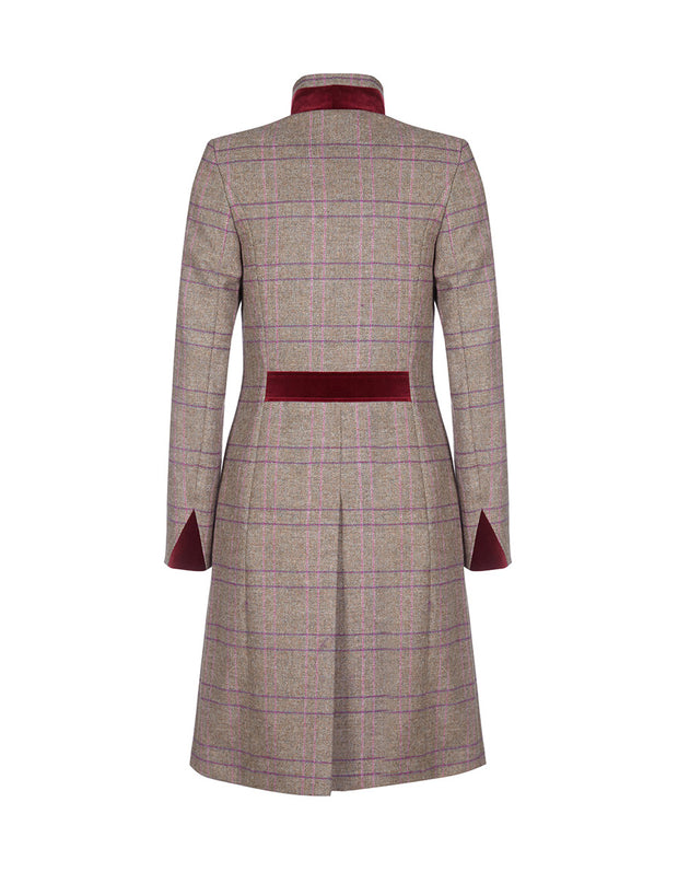 Tweed wool women's coat in Rose Check with fitted cut and velvet collar