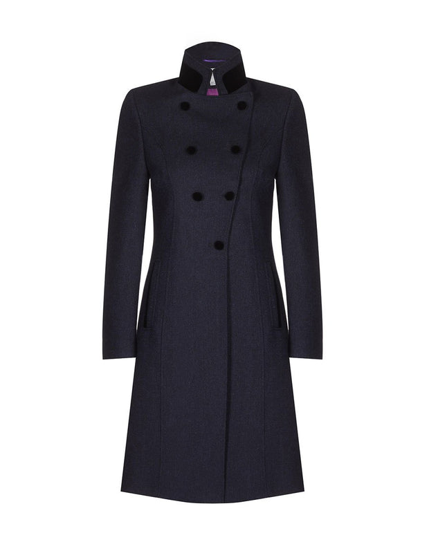 Women's navy wool coat with double breasted fit and 3/4 length, in navy tweed