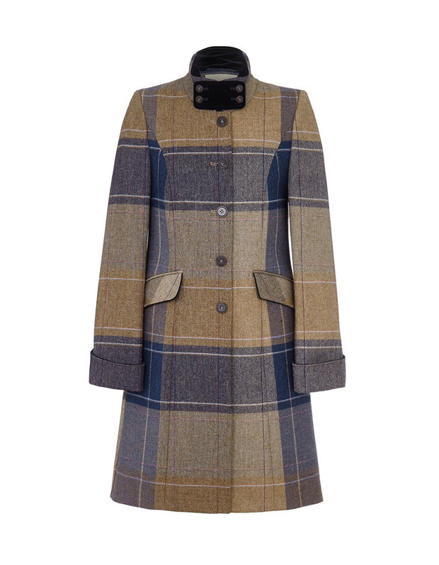 Women's tweed coat in beige and navy blue check wool with velvet collar
