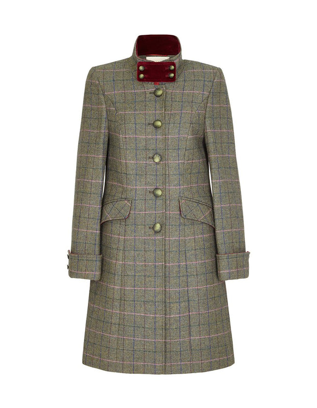 Tweed women's coat in green check wool with velvet collar and elegant, fitted cut