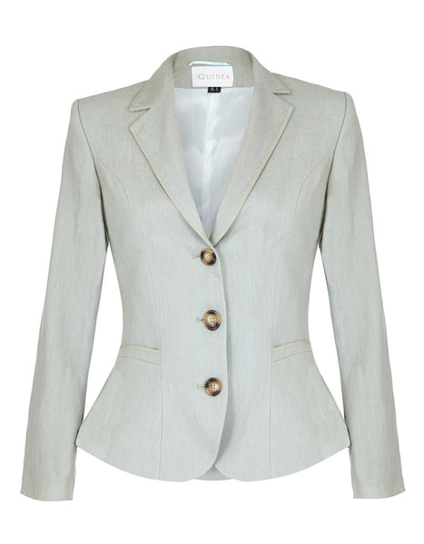 women's green linen short jacket, ladies smart summer blazer
