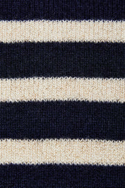 Helena - Blue and Cream Lurex Stripe Cashmere Jumper