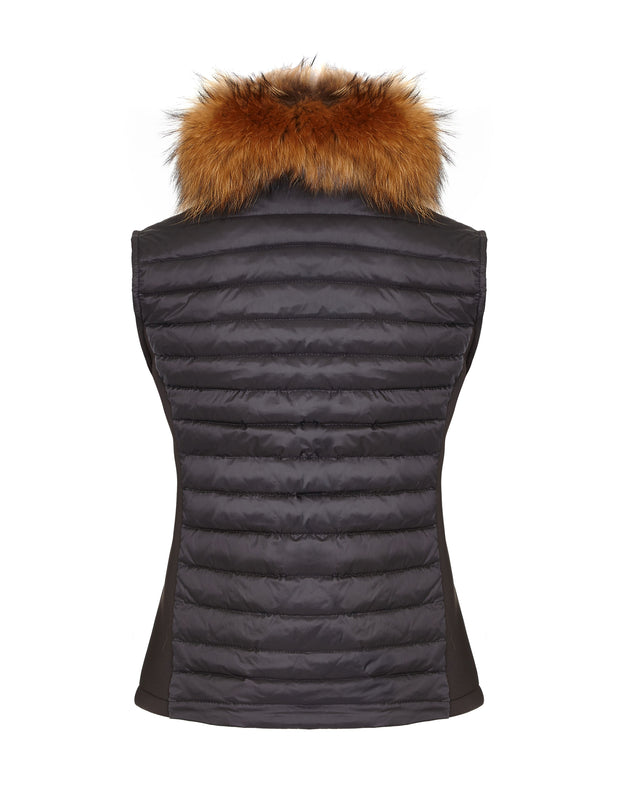 Ladies down gilet with fur collar black