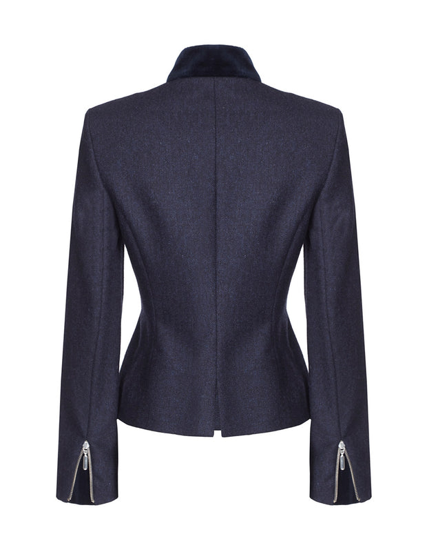 zip detail, blue wool, womens tailored jacket, womens designer jacket, tweed blazer womens