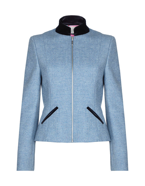 Marylebone Tweed Jacket - Sky Blue Herringbone