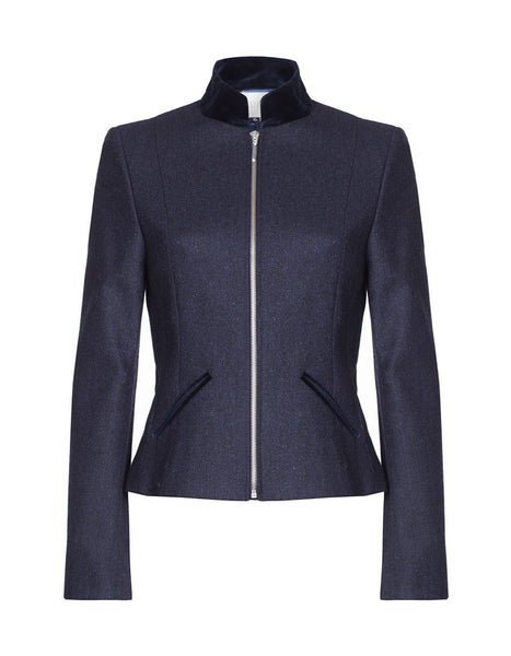 wool blazer womens, zip jacket, 100 wool coat, womens coats, navy wool jacket
