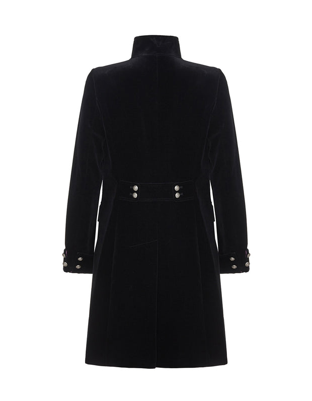 Black velvet evening coat for women, with button detail back, military style jacket