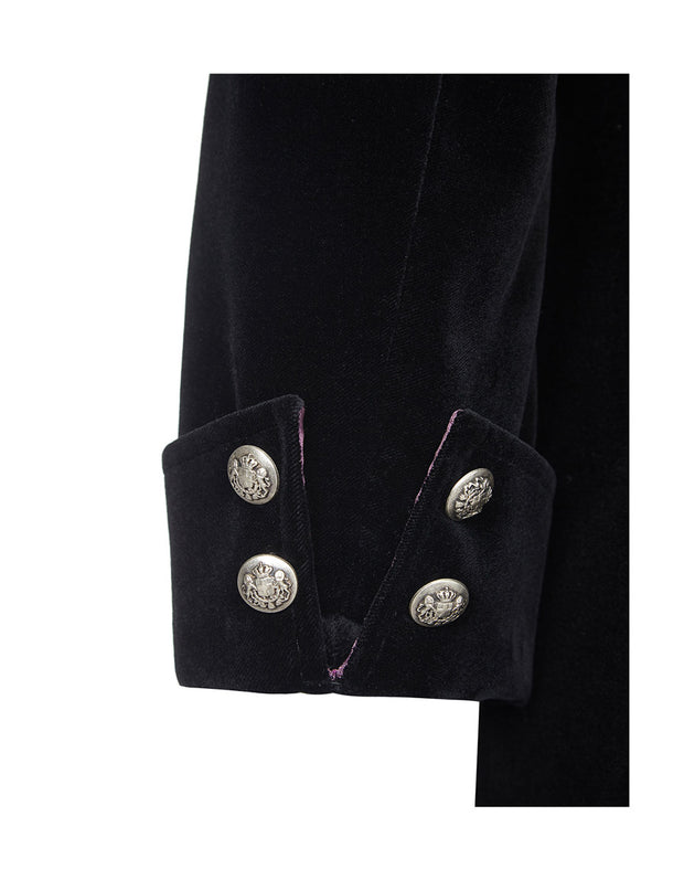 Womens black velvet evening coat, button sleeve detailing