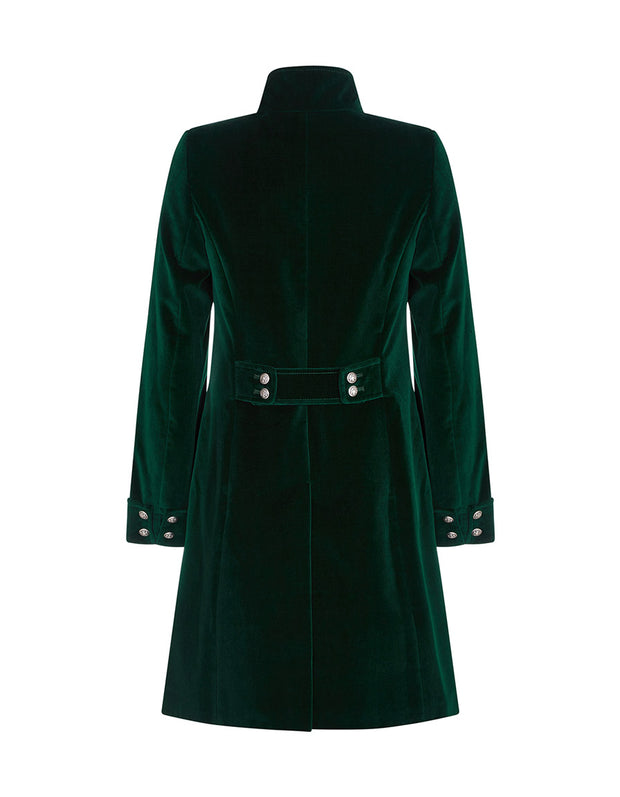 Green velvet evening coat for women with high collar and button back detailing