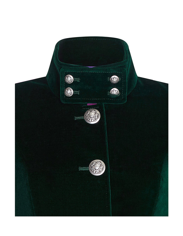 Green velvet jacket collar buttoning on the Motcomb womens velvet evening coat