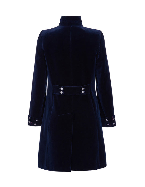 Navy blue velvet evening coat with back button detail