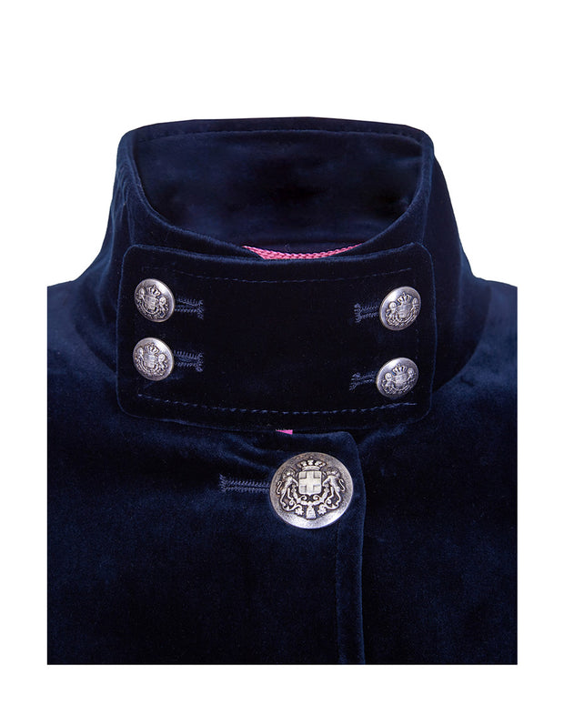 Blue velvet coat high collar detail with military buttons, on Motcomb women's velvet coat