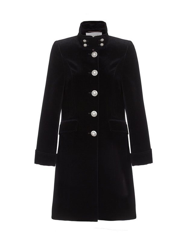 Womens black velvet evening coat with high collar, silver buttons, and elegant tailoring