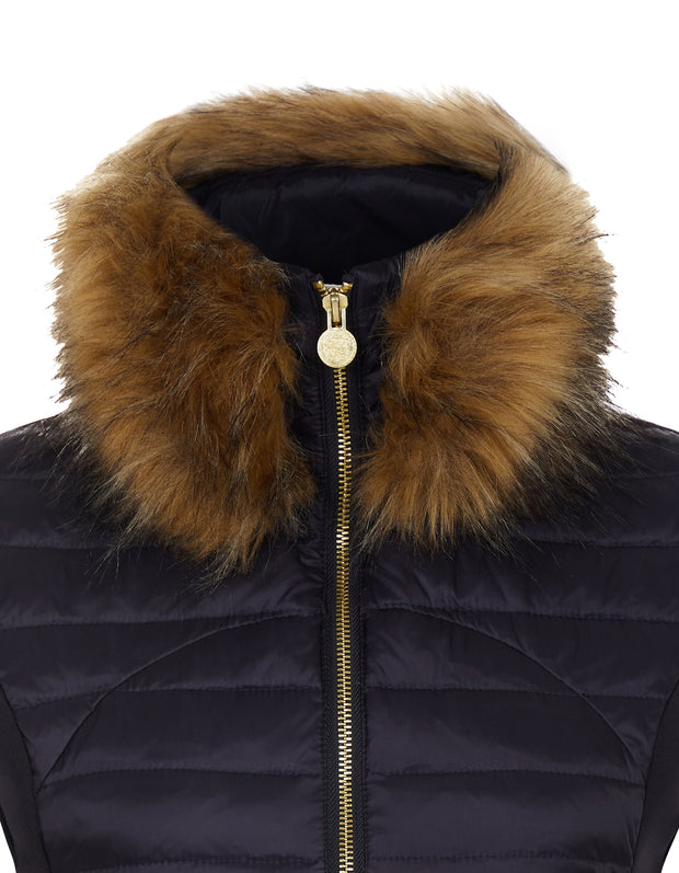 Navy Puffer Gilet - Luxe Faux Fur Collar