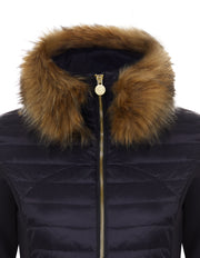 Navy Puffer Jacket - Luxe Faux Fur Collar