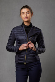 Roxie Navy Puffer Biker Jacket