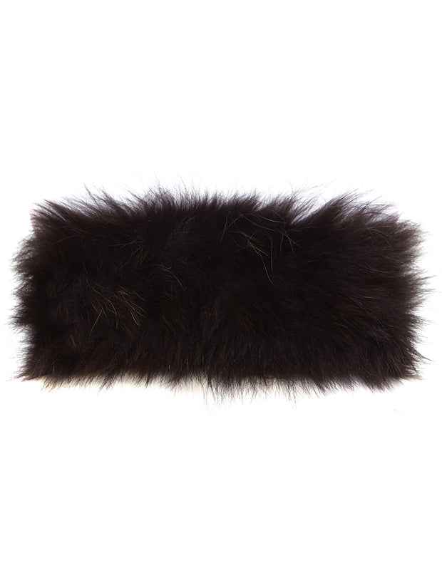 Real fur collar in chocolate brown real fur, to wear as a neck warmer or as a detachable fur collar