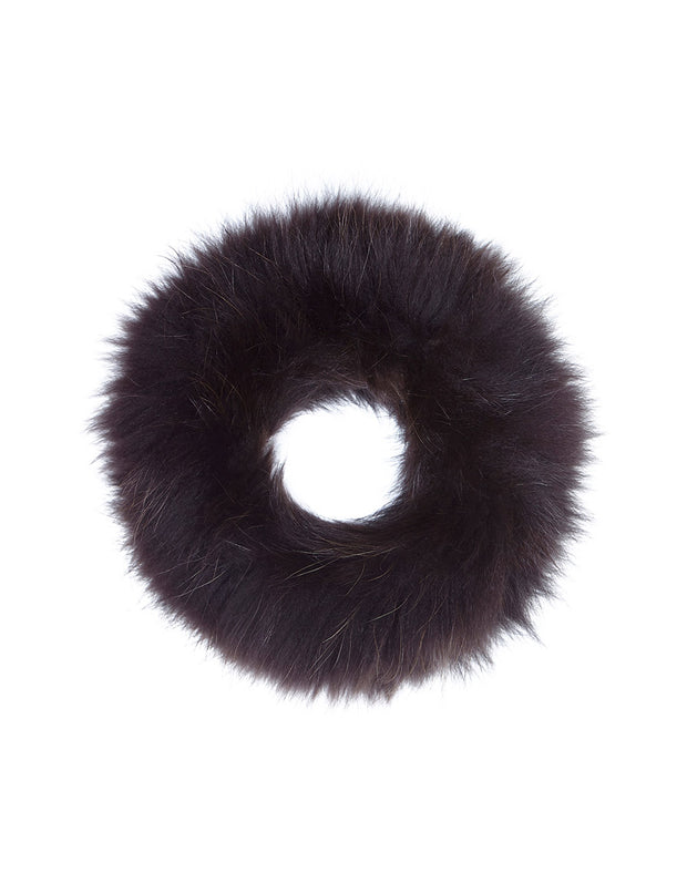 Real fur neck warmer scarf in dark brown fur, to wear as a detachable real fur collar or as a scarf