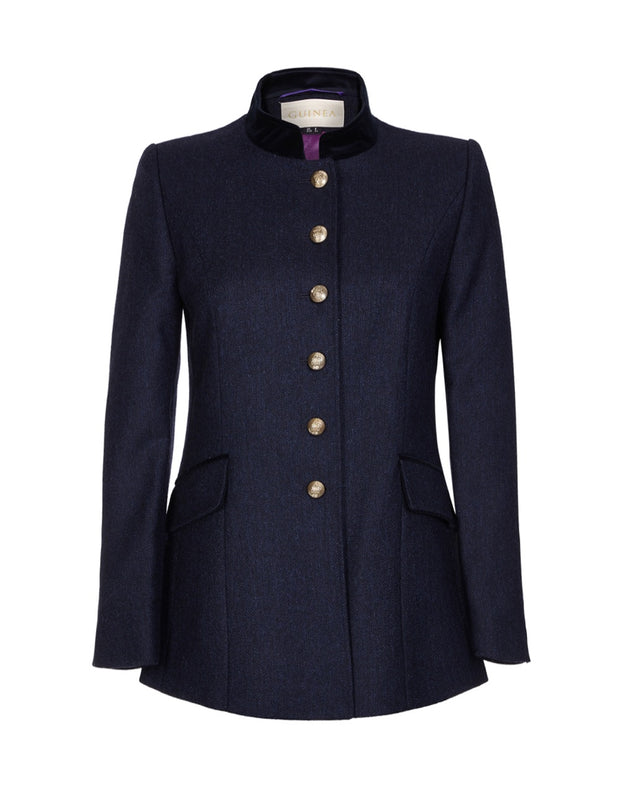 Women's navy wool jacket with military style buttons, in quality British tweed