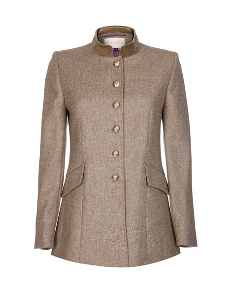 Womens light brown tweed jacket with gold buttons and velvet trim, in 100% British wool