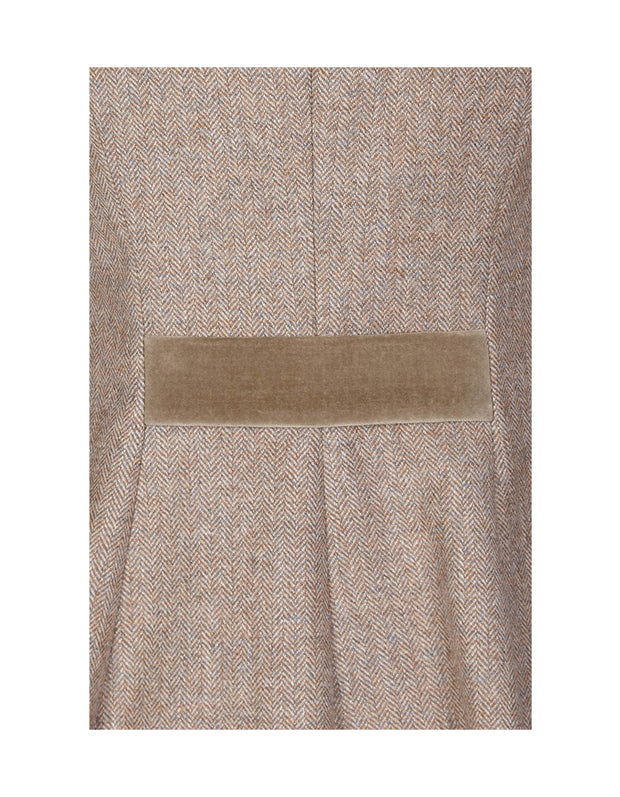 Velvet trim on Piccadilly ladies beige wool tweed coat