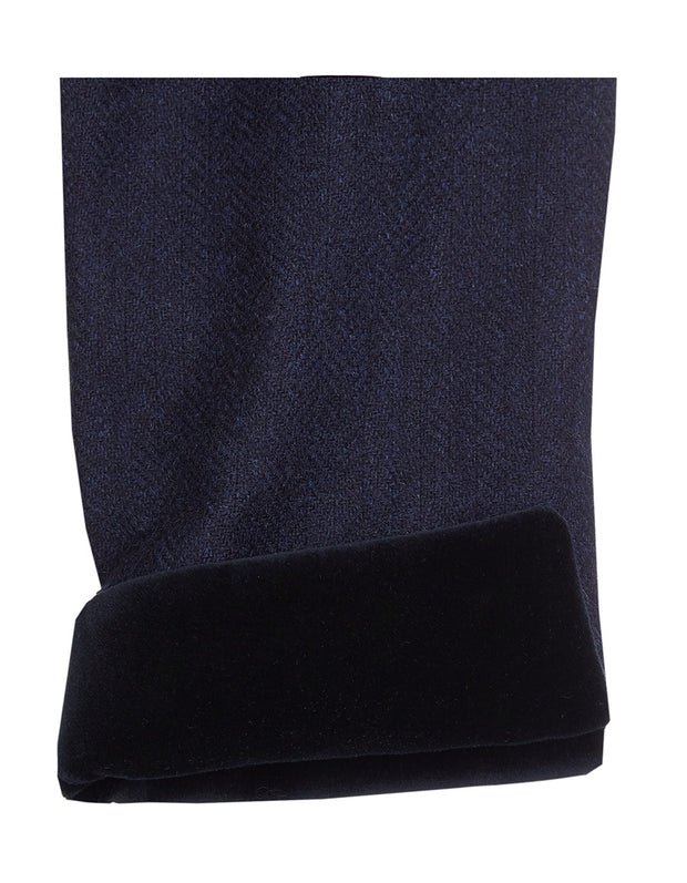 Velvet cuff on navy wool tweed womens coat