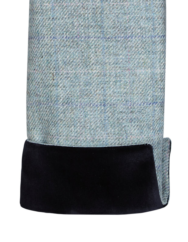 Velvet cuff detail on pale green wool in the Piccadilly womens tweed coat