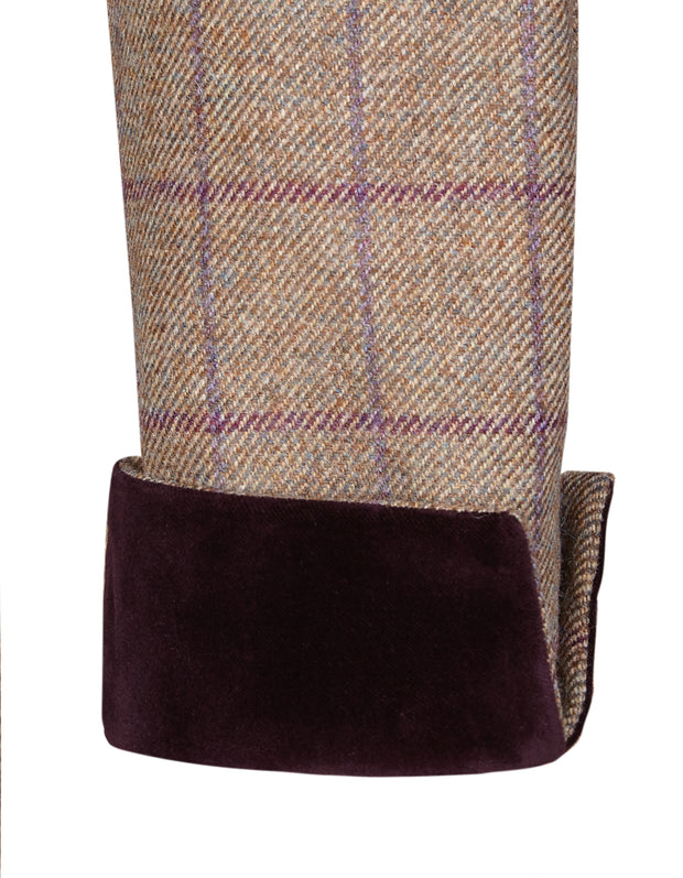Velvet trim on purple and beige wool tweed in Piccadilly womens tweed coat