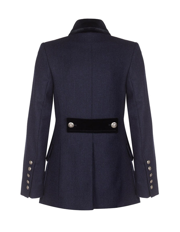 Womens tweed jacket in navy wool with velvet trims and military style buttons