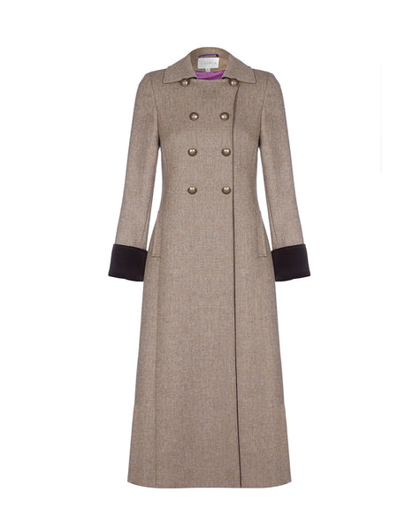 Women's long brown tweed coat. Military style buttons and brown velvet trims.