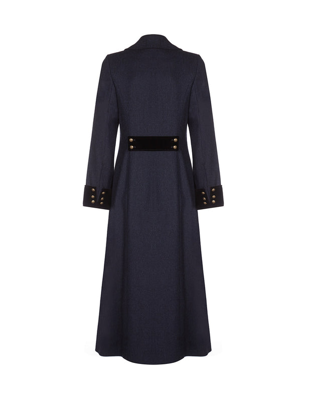 Long tailored trench coat in navy wool with double breasted cut