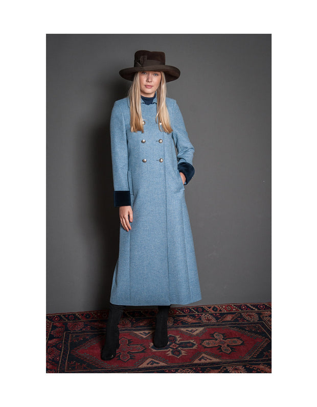 powder blue occasion coat in long length using British wool with velvet detail