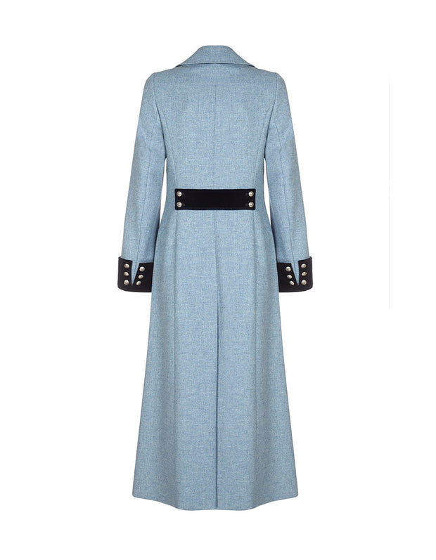 ladies blue trench coat in long length with button cuff and velvet cuffs
