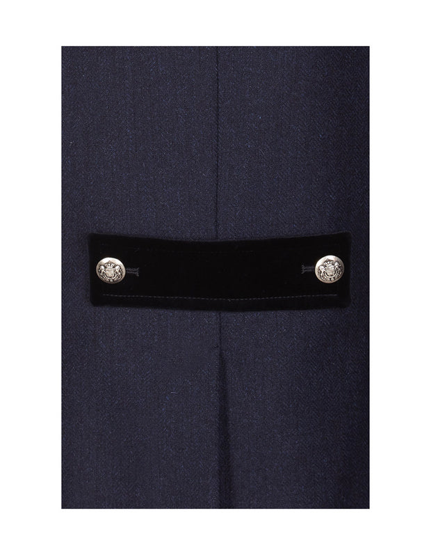 Velvet tab detail on navy wool in the Windsor ladies tweed jacket
